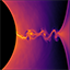 Visualization of a general-relativistic collisionless plasma simulation showing the density of positrons near the event horizon of a rotating black hole