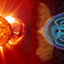 A coronal mass ejection erupting from the Sun (left) and the resulting solar storm colliding with Earth's protective magnetic field, the magnetosphere (right)