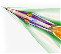 Visualization of Space Launch System (SLS) in flight